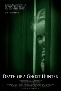 A young girl looks around a door frame on the movie poster.