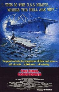 Two shots of the USS Nimitz afloat on the ocean adorn the movie poster.