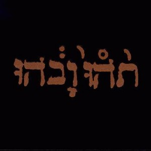 A basic black cover with Hebrew lettering in copper.