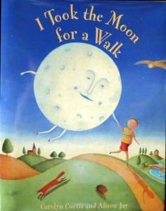 The narrator and the moon, hand in hand, walk down a path on the book cover.