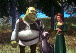 Shrek, Donkey, and Fiona debate while walking in a still from the film.