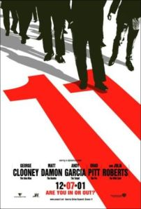 A red numeral 11, and various portions of the lower halvesof the principal cast, adorn the otherwise white movie poster.