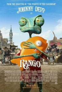 Rango, clutching a clockwork goldfish, stares out of the movie poster and into your very soul.