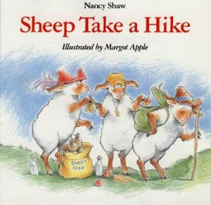 The intrepid sheep get ready for a day in the woods on the book's cover.