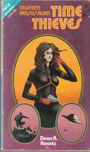 A (rather crude) drawing of a woman holding a laser pistol adorns the book cover.