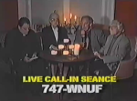 Frank Stevens and his entourage attempt to call up a few spirits live on the air in a still from the film.