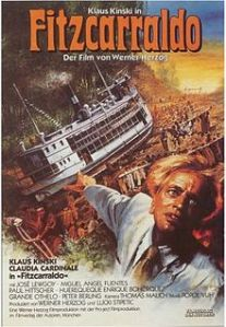 Klaus Kinski, with a frantic look, stares out of the movie poster, while in the background, his boat is slowly hauled up a mountain.
