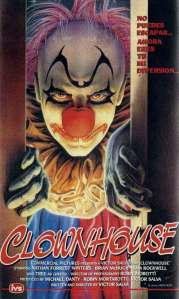 A clown slowly opens a sliding door on the VHS box.