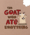 The titular goat poses on the cover of the book, which has a bite taken out of it.