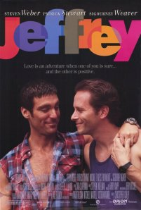 Steven Weber and Michael T. Weiss cuddle on the movie poster.