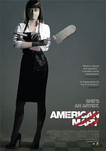 Mary, wearing a butcher's apron and a surgical mask, stands with an air gun in one hand and a cleaver in the other, arms crossed, on the movie poster.