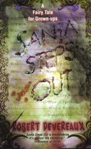 The book's title looks as if it is carved into a blurry, spotted  letter to Santa on the book's cover.