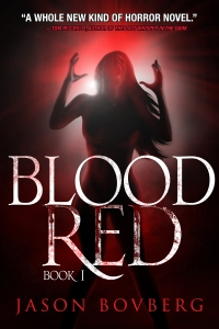 Rachel, clothed in blood, lets out her frustrations on the cover of the book.