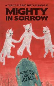 Cats, holding hands, with blood-hungry expressions, dance around a tombstone on the book's cover.