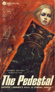 A woman's disembodied head floats above the titular pedestal on the book's cover.