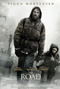 Man and Boy trudge along the road on the movie poster.