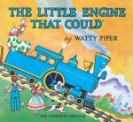 The little engine steams down the mountain on the spoilerific cover of the book.
