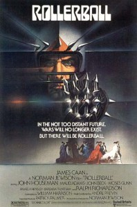 A rollerball player brandishes a wickedly-spiked glove on the movie poster.