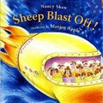 The beloved sheep of the series head for the stars on the book cover.