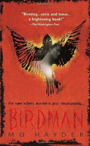 A bird, with a shadowy figure lurking, decorates the book cover.