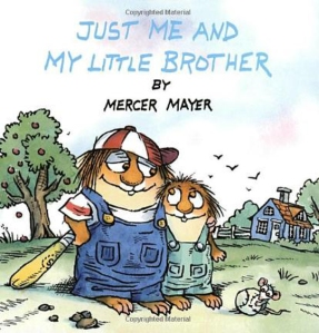 Little Critter and his nonexistent little brother get ready for some baseball on the book cover.