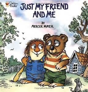 Critter and his bear friend hug on the cover of the book.