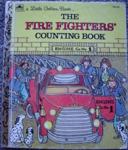 The firefighters pose around a truck on the cover.