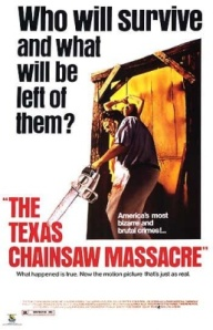 Leatherface starts his chainsaw in order to butcher a histage on the movie poster.