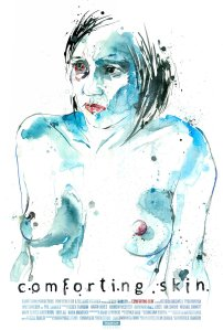 An artist's rendition, mostly blue, of Koffie topless graces the movie poster.