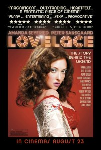 Amanda Seyfried vamps on the movie poster.