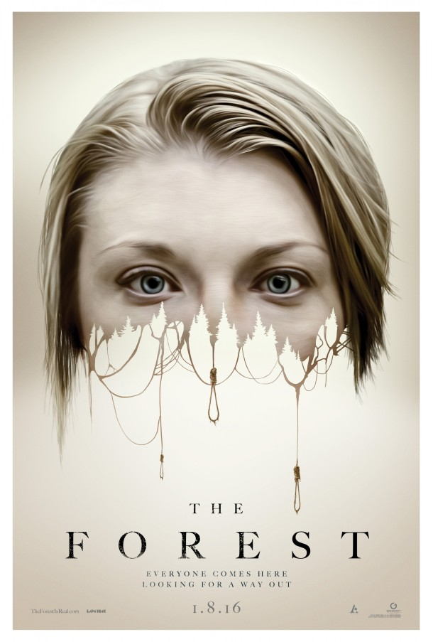 The top half of Natalie Dormer's face disintegrates into a number of hangman's nooses on the film's poster.