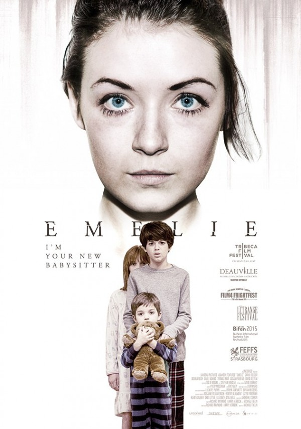 Emelie (Sarah Bolger)'s face dominates the top half of the white poster, with the children underneath, much smaller.